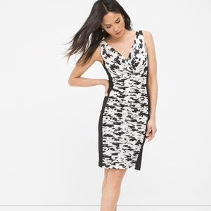 White House Black Market - B/W Ruched Floral Dress